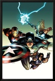 Ultimate Avengers vs New Ultimates No2 Cover: Captain America  Iron Man  Thor  and Hawkeye Flying