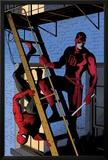Daredevil No8 Cover: Daredevil and Spider-Man on the Fire Escape
