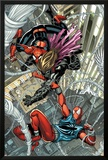 Scarlet Spider No1: Spider-Man and Scarlet Spider Fighting and Falling