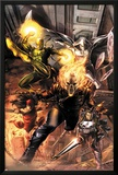 Heroes For Hire No1 Cover: Ghost Rider  Elektra  Punisher  Iron Fist  and Moon Knight Charging
