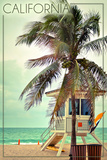 California - Lifeguard Shack and Palm