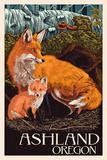 Ashland  Oregon - Fox and Kit - Letterpress