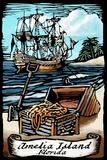 Amelia Island  Florida - Pirate - Scratchboard
