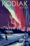 Kodiak  Alaska - Northern Lights and Cabin