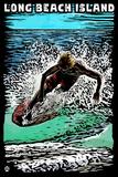 Long Beach Island - Scratchboard Surfer