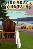 Adirondack Mountains  New York - Adirondack Chair and Lake