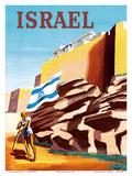 Israel - Zionist Heroic Girl Holding Israeli Flag - Walls of Jerusalem