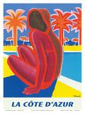 La Côte d'Azur - South of France - French Riviera Reproduction d'art par Bernard Villemot