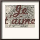 Je Taime - Paris  France  Vintage Map