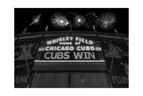 Chicago Cubs Win Fireworks Night BW