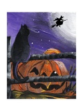 Black Cat in Pumpkin Patch Halloween
