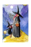 Trick or Treat Night Red Haired Witches Halloween