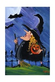 Witch and Bats Halloween Moon