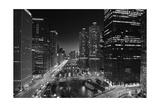 Chicago River Lights BW