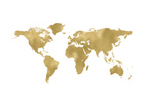 World Map Golden White