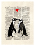 Penguin Lovers Reproduction d'art par Matt Dinniman
