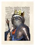 Sloth King Reproduction d'art par Matt Dinniman