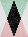 Geometric Pink Mint Reproduction d'art par LILA X LOLA