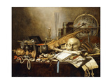 A Vanitas Still Life of Musical Instruments and Manuscripts  an Overturned Gilt Covered Goblet  a