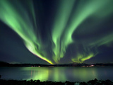 Aurora Borealis over Tjeldsundet in Troms County  Norway
