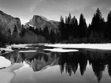 Half Dome Above River and Winter Snow  Yosemite National Park  California  USA
