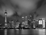 City Skyline at Night with Oriental Pearl Tower and Pudong Skyscrapers across the Huangpu River  Sh