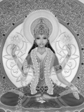Picture of Lakshmi  Goddess of Wealth and Consort of Lord Vishnu  Sitting Holding Lotus Flowers  Ha