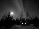 Cabin under Northern Lights and Full Moon  Northwest Territories  Canada March 2007