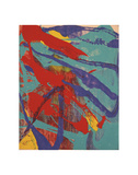 Abstract Painting  c 1982 (aqua  red  indigo  yellow)