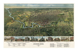 Bird's Eye Map of Houston  Texas  1891