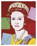 Reigning Queens: Queen Elizabeth II of the United Kingdom, 1985 (dark outline) Reproduction d'art par Andy Warhol