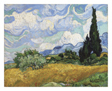 Wheat Field with Cypresses, 1889 Reproduction d'art par Vincent Van Gogh