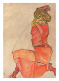 Kneeling Female in Orange-Red Dress  1910