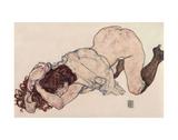 Kneeling Girl, Resting on Both Elbows Reproduction d'art par Egon Schiele