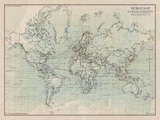 Ocean Current Map I Giclée par The Vintage Collection