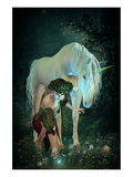 Girl Unicorn and Fireflies