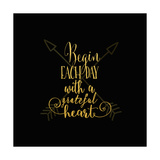 Begin Each Day Arrows Gold on Black Reproduction d'art par Tara Moss