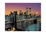 Top View  Brooklyn Bridge in Color - New York City Skyline at Night