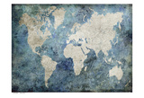 World Map Blue Reproduction d'art par Jane Fox