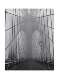 On the Brooklyn Bridge  Fog  Close-Up - New York City Icon