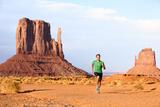 Runner Running Man Sprinting in Monument Valley Athlete Runner Cross Country Trail Running Outdoo