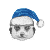Portrait of Mongoose with Santa Hat Hand Drawn Illustration