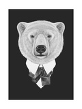 Portrait of Polar Bear in Suit Hand Drawn Illustration