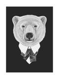 Portrait of Polar Bear in Suit Hand Drawn Illustration