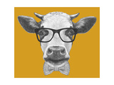 Portrait of Cow with Glasses and Bow Tie Hand Drawn Illustration