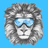 Portrait of Lion with Ski Goggles. Hand Drawn Illustration. Reproduction d'art par Victoria_novak