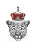 Original Drawing of Leopard with Crown. Isolated on White Background Giclée premium par Victoria_novak