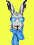 Portrait of Hare with Mirror Sunglasses and Scarf. Hand Drawn Illustration. Giclée premium par Victoria_novak