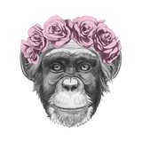 Original Drawing of Monkey with Floral Head Wreath Isolated on White Background