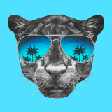 Portrait of Panther with Mirror Sunglasses Hand Drawn Illustration